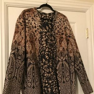 Black and Gold plus size open front jacket